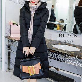 【ブラックXL】中綿ロングコート
