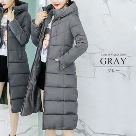 【グレーM】中綿ロングコート