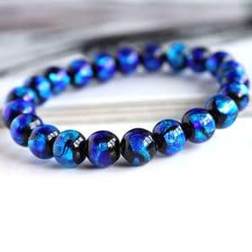 ブレスレット とんぼ玉 ホタルガラス ブルー 青