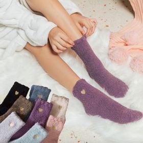 部屋用靴下 暖かい シンプル ソックス ハート レディース