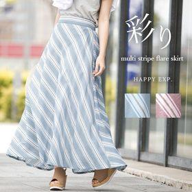 大人女子が着るストライプ。斜めマルチストライプフレアスカート