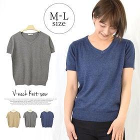 麻感シンプル半袖Tシャツサマーニット レディーストップス