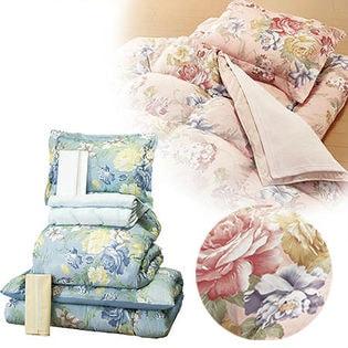 【ピンク】やわらかフェザー掛布団寝具9点セット[毛布&敷パッド付]
