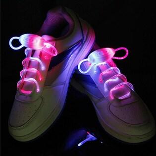 【レインボー】【2個セット】交通安全光る靴紐