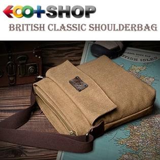 【ブラウン】EOO+イオプラスGenuine series ブリティシュクラシック・帆布×床革ショルダーバッグ