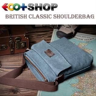 【ブルー】EOO+イオプラスGenuine series ブリティシュクラシック・帆布×床革ショルダーバッグ