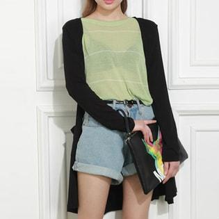 【Miss R PINK】薄手 ロングカーディガン / jkcb022-black-free / ブラック / FREE ##