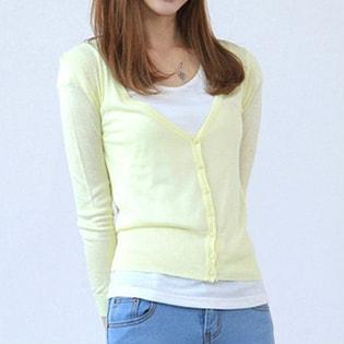 【Miss R PINK】シンプルベーシックニットカーディガン 裾リブ 長袖 / sw251-Milky yellow-FREE / ミルキーイエロー / FREE ##