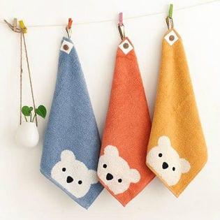 吊り下げられる綿100%しろくまハンドタオル 3色計3枚