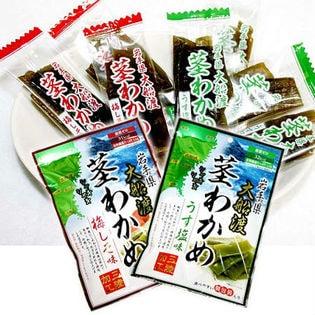 岩手県大船渡 三陸加工 シャキシャキ 茎わかめ 4袋セット(うす塩味×2袋、梅しそ味×2袋)