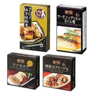 4種缶セット(ツナパテブラックペッパー/砂肝のアヒージョ/サーモンとディルのオイル煮/さばの柚子胡椒煮)
