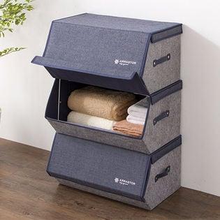 【デニム調ネイビー/6点セット】収納ボックス スタッキングボックス 幅50cm