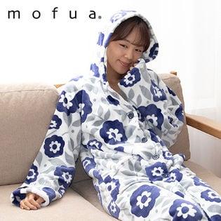 [花柄ネイビー]mofua プレミアムマイクロファイバー着る毛布 フード付 (ルームウェア)着丈110cm/484764S5