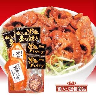 【鹿児島】かごしま黒豚お取り寄せセット(ロース味噌漬け2枚、炙り焼き2袋、ハンバーグ2個) [箱入り]