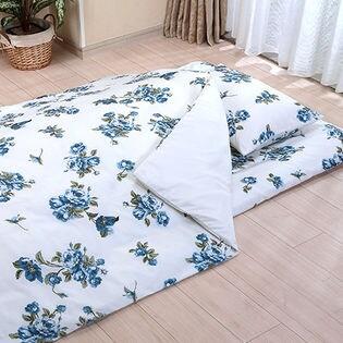 花柄カバーリング3点セット[和式セット/ブルー](掛布団カバー:150×210cm/フィットシーツ:105×210cm/枕カバー:43×63cm)