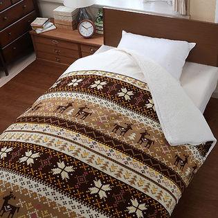 毛布にもなる暖かふわふわシープ調掛布団カバー (ブラウン/シングル)