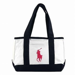 RALPH LAUREN MEDIUM TOTE / RA100107 / White/Navy(Logo:Baja Pink)
