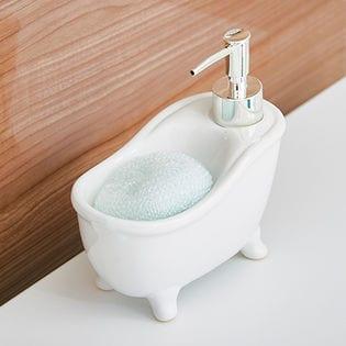 【ホワイト】ソープディスペンサー「bathtub(バスタブ)」