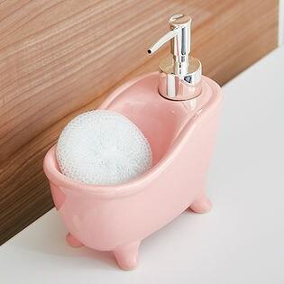 【ピンク】ソープディスペンサー「bathtub(バスタブ)」