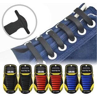 計3点[ブラック+レッド+ブルー]結ばない靴紐 オリジナル 特殊ゴム 3足セット