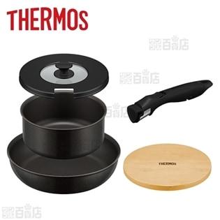 [ブラック] サーモス(THERMOS)/取っ手のとれるフライパン5点セット (IH対応)/KSA-5A(BK)