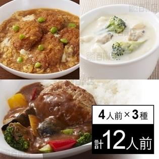 【冷凍】4人前×3種 ミールキット(ひれかつ煮、カレーハンバーグ、クラムチャウダー)タイヘイ お勧め3種セット(4)