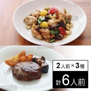 【冷凍】ミールキット 2人前×3種(ハンバーグデミソース、鶏肉カシューナッツ、豚肉とジャガイモ)デリア食品お勧めセット(1)