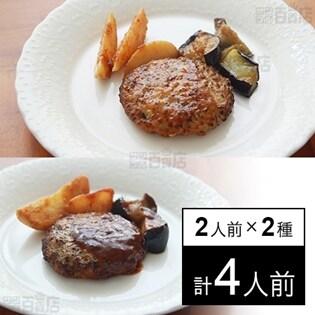【冷凍】ミールキット 2人前×2種(ハンバーグデミソース、おろしハンバーグ)デリア食品ハンバーグセット(1)