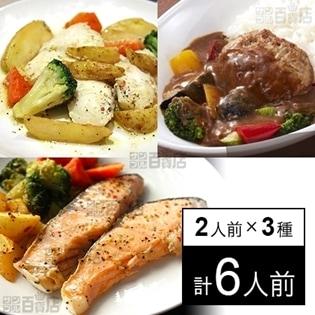 【冷凍】ミールキット 2人前×3種(カレーハンバーグ、白身魚のバジルソテー、アトランティックサーモンレモンペッパー) 洋食3種 タイヘイ 西川