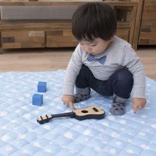 【水玉ドット柄ブルー】綿100%生地のよちよちプレイマット 200×200cm