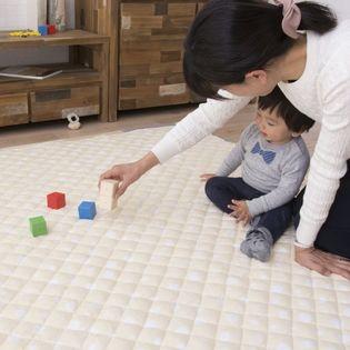 【水玉ドット柄イエロー】綿100%生地のよちよちプレイマット 100×100cm