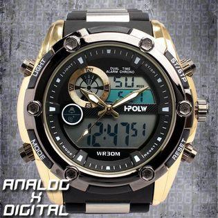 アナログ&デジタル 防水 HPFS618A-BKYG メンズ腕時計