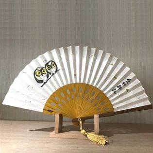 (文字なし)鳥取県 金持神社認定 金箔・お札入り扇子