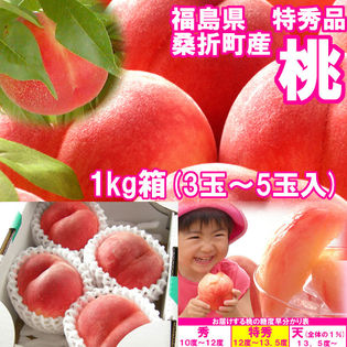 献上桃の郷 桑折町の『特秀品桃』1kg箱(3~5玉入)