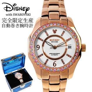 大事な女性へのプレゼントに 専用BOX付き【自動巻き スワロフスキー 腕時計】ディズニー