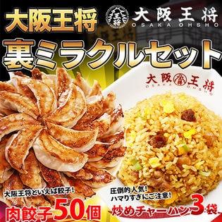 裏ミラクルセット(肉餃子50個、炒めチャーハン×3袋、高菜・キムチ・ガーリックチャーハン各1袋)