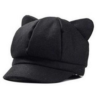【ブラック】猫耳がかわいい レディースキャスケット