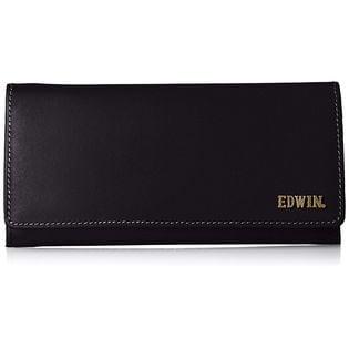 【ブラック】エドウィン 長財布 ボンデッドレザー メタルロゴ