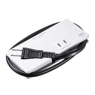【ホワイト】モバイルタップ(AC2個口・USB充電2ポート・薄型) サンワサプライ