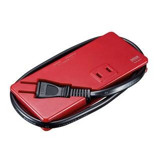 【レッド】モバイルタップ(AC2個口・USB充電2ポート・薄型) サンワサプライ