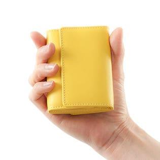 【イエロー】牛床革ミニ財布