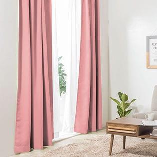 【パープルピンク/幅100cm×丈135cm】1級遮光カーテン 2枚組/強い日差しを遮る1級遮光生地