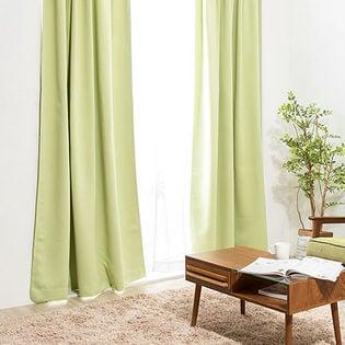【メロングリーン/幅100cm×丈135cm】1級遮光カーテン 2枚組/強い日差しを遮る1級遮光生地