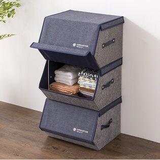 【デニム調ネイビー/6点セット】収納ボックス スタッキングボックス 幅38cm/1つでも積み重ねても