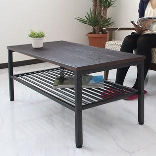【ブラウン×ブラック】センターテーブル リリー/天板に「エンボス加工のシート」を使用