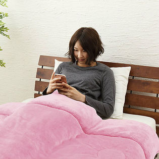 【ピンク】中綿入り2枚合わせ毛布 シングル