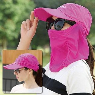 【ピンク】360度UVケア!フェイスカバー付きキャップ/頭・顔・首、360度UVケア♪