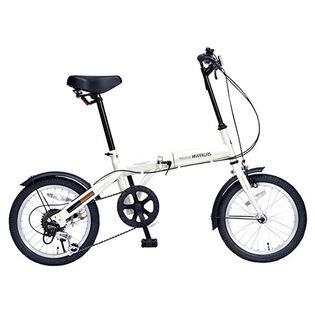 【アイボリー】MYPALLAS(マイパラス)/折畳自転車・16インチ・6段変速ギア付