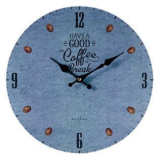【COFFEE BREAK <blue>】モチーフクロック shopシリーズ 33cm壁掛け時計