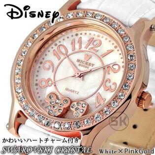 かわいいハートチャーム付き 【本革ベルト スワロフスキー 腕時計】ディズニー ミッキー